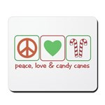 Peace Love Candy Canes Mousepad