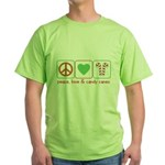 Peace Love Candy Canes Green T-Shirt