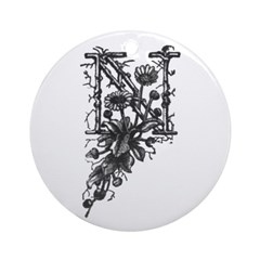 Letter N Ornament (Round)