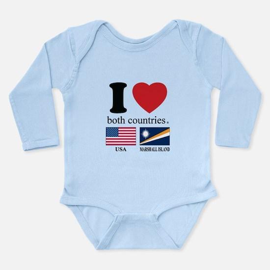 USA-MARSHALL ISLAND Long Sleeve Infant Bodysuit