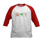 Peace Love Candy Canes Kids Baseball Jersey