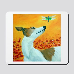 Greyhound with Dragonfly Mousepad
