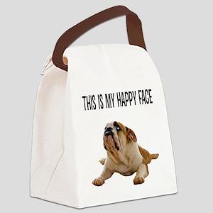 Happy Face Bulldog Canvas Lunch Bag