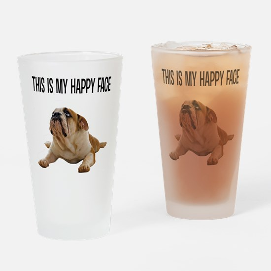 Happy Face Bulldog Drinking Glass