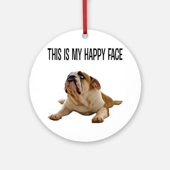 Happy Face Bulldog Round Ornament