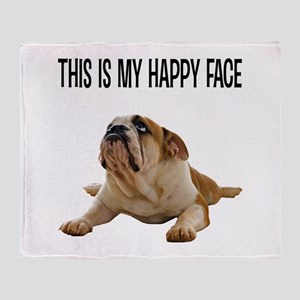 Happy Face Bulldog Throw Blanket