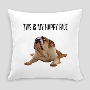 Happy Face Bulldog Everyday Pillow
