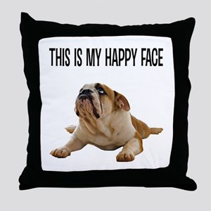 Happy Face Bulldog Throw Pillow