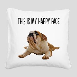 Happy Face Bulldog Square Canvas Pillow