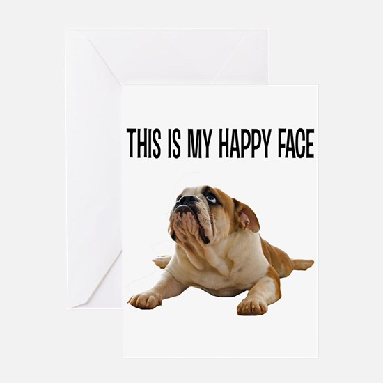 Happy Face Bulldog Greeting Cards