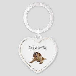 Happy Face Bulldog Keychains