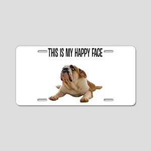 Happy Face Bulldog Aluminum License Plate