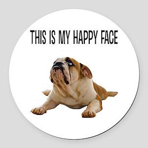Happy Face Bulldog Round Car Magnet