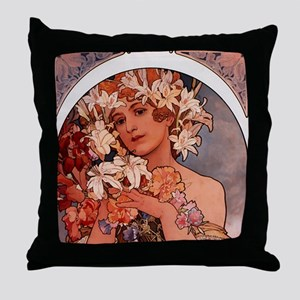 Woman of Mucha Throw Pillow