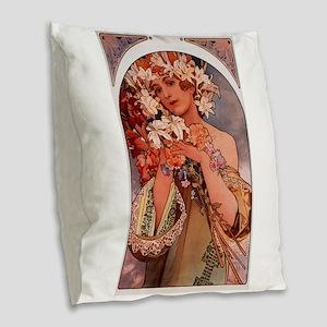 Woman of Mucha Burlap Throw Pillow
