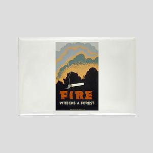Fire Wrecks A Forest Rectangle Magnet