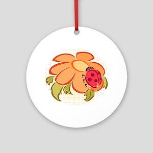 Ladybug and Flower Keepsake (Round)