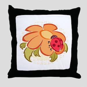 Ladybug and Flower Throw Pillow