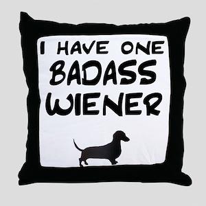 One Badass Wiener Dachshund Throw Pillow