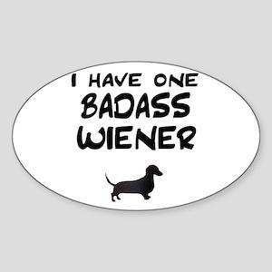 One Badass Wiener Dachshund Oval Sticker