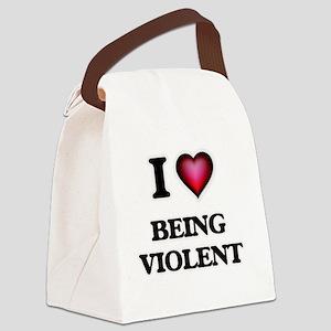 I love Being Violent Canvas Lunch Bag