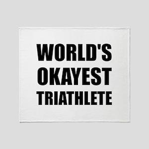 World's Okayest Triathlete Throw Blanket