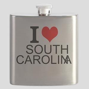 I Love South Carolina Flask