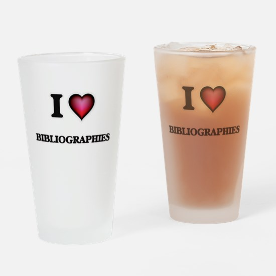 I Love Bibliographies Drinking Glass