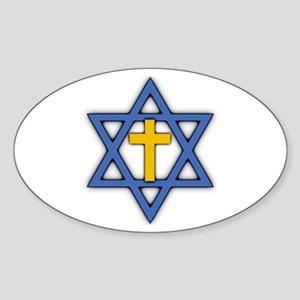 Star of David with Cross Oval Sticker