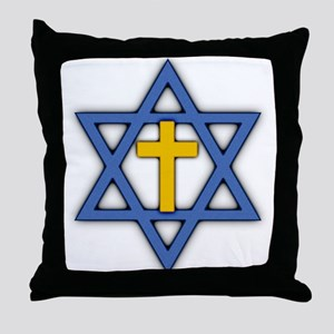 Star of David with Cross Throw Pillow