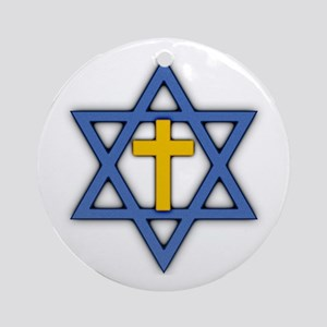 Star of David with Cross Round Ornament
