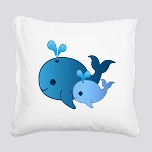 Baby Whale Square Canvas Pillow