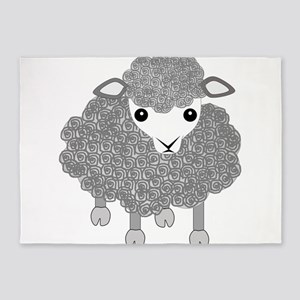 Curly sheep looking left 5'x7'Area Rug