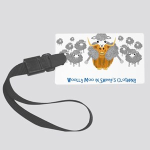 woolly moo in sheep's Large Luggage Tag