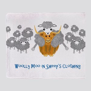 woolly moo in sheep's Throw Blanket