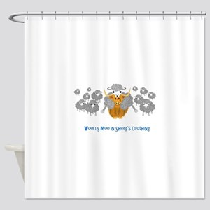 woolly moo in sheep's Shower Curtain