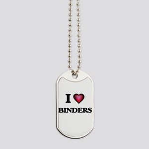 I Love Binders Dog Tags