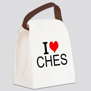I Love Chess Canvas Lunch Bag