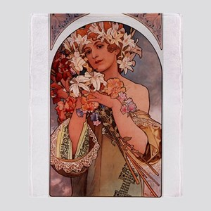 Woman Of Mucha Throw Blanket