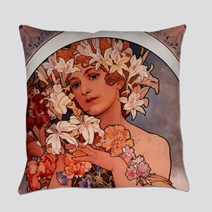 Woman of Mucha Everyday Pillow