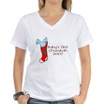 Baby's First Chanukah 2007 Women's V-Neck T-Shirt