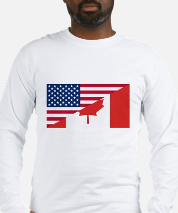 American Canadian Flag Long Sleeve T-Shirt