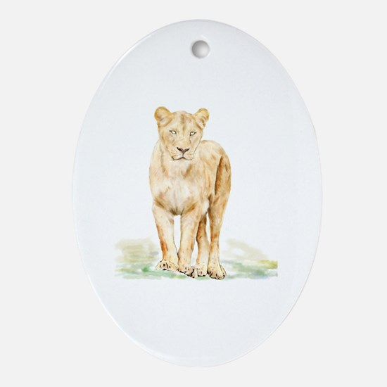 Cute Lioness Oval Ornament