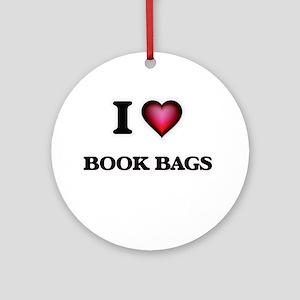 I Love Book Bags Round Ornament