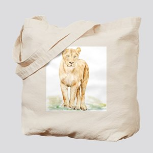 Lioness Watercolor Tote Bag