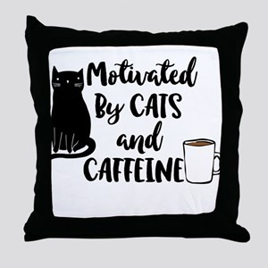 Motivated by cat and Caffine Throw Pillow