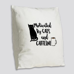 Motivated by cat and Caffine Burlap Throw Pillow