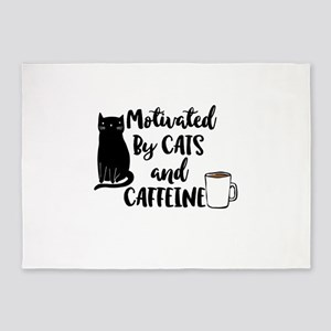 Motivated by cat and Caffine 5'x7'Area Rug