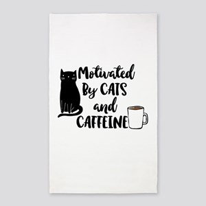 Motivated by cat and Caffine Area Rug