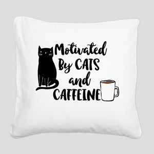 Motivated by cat and Caffine Square Canvas Pillow